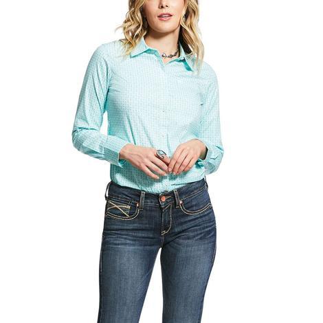 Ariat Kirby Stretch Mint Print Long Sleeve Button Down Women's Shirt