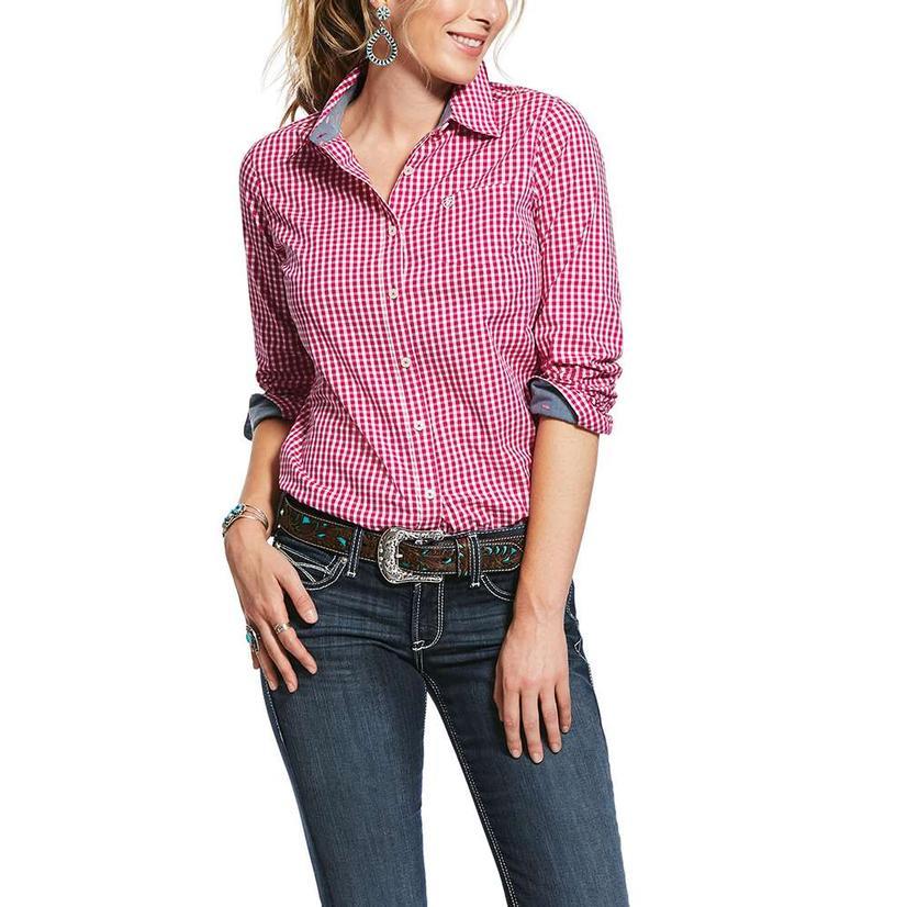 Ariat Kirby Stretch Rose Gingham Long Sleeve Button Down Women's Shirt