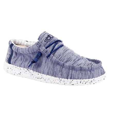 Hey Dude Wally Stretch Fleece Navy and White Mens Shoes