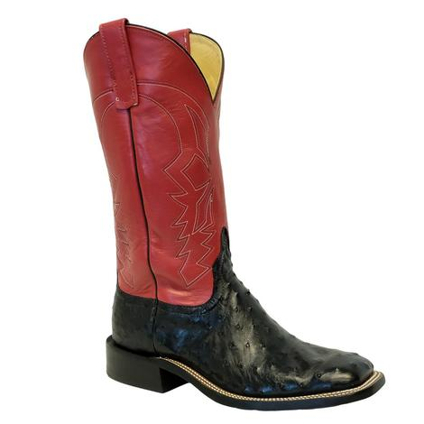 Anderson Bean Black Full Quill Ostrich Red Glove Top Men's Boots
