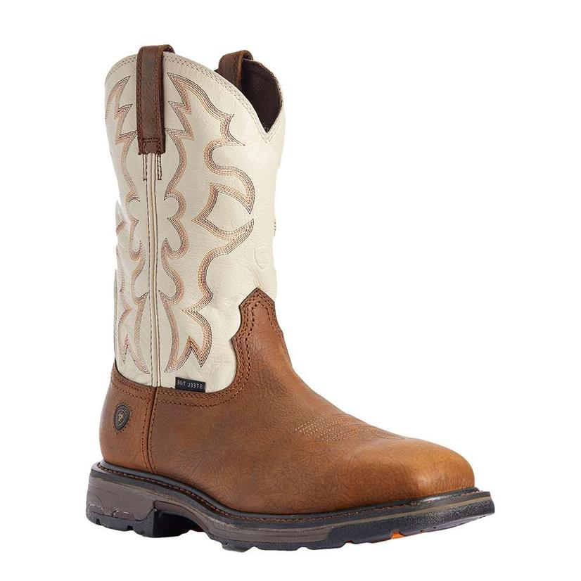Ariat Workhog Brown And Bone Wide Square Steel Toe Men's Work Boots
