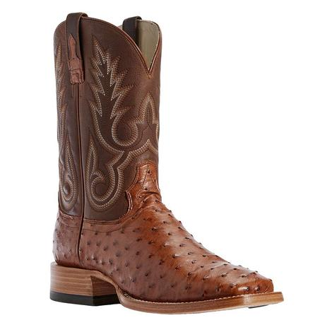 Ariat Barker Brandy Full Quill Ostrich Tan Top Men's Boots
