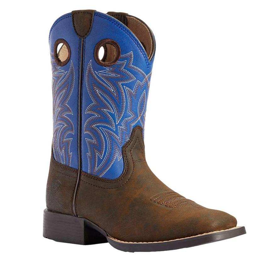 Ariat Catch ' Em Dark Chocolate Blue Boy's Kids And Youth Boots
