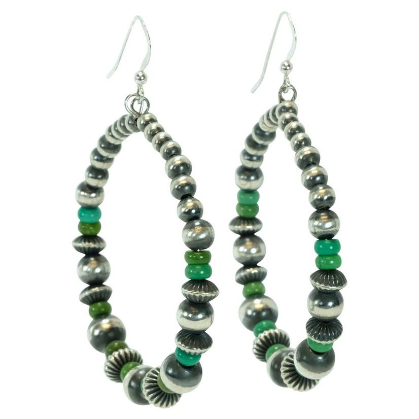 Navajo Pearl And Green Bead Hoop Earrings