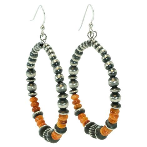 Navajo Pearl and Spiny Oyster Hoop Earrings