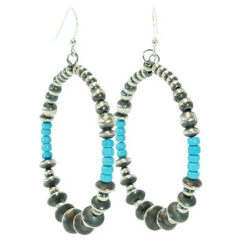 Navajo Pearl and Turquoise Bead Hoop Earrings