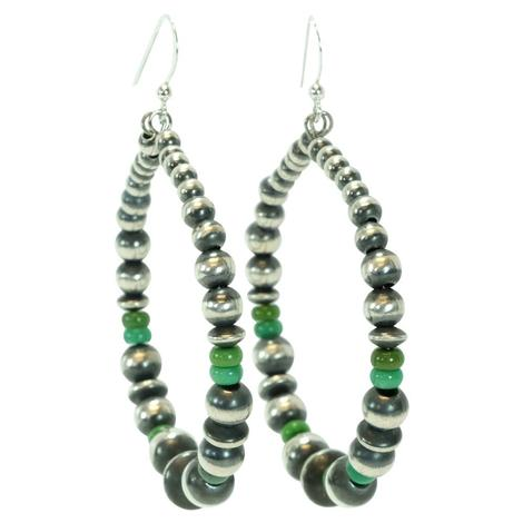 Navajo Pearl and Green Turquoise Bead Hoop Earrings