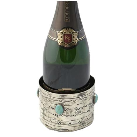 Stamped Silver and Turquoise Wine Bottle Coaster