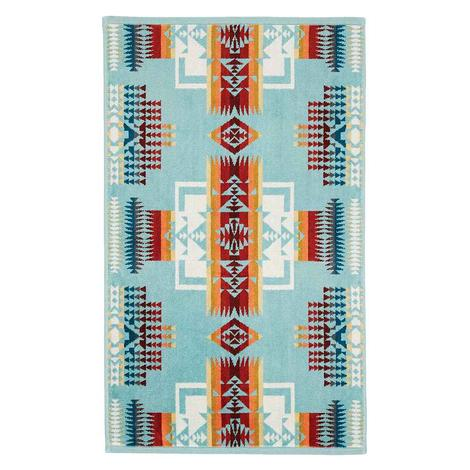 Pendleton Hand Towel Chief Joseph Aqua 18x30