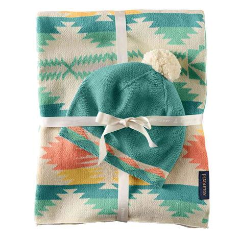 Pendleton Knit Baby Blanket with Matching Knit Cap Falcon Cove 30x40