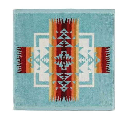 Pendleton Wash Cloth Chief Joseph Aqua 13x13