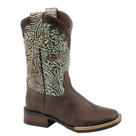 Roper Brown Leather Turquoise Embossed Kid Boots