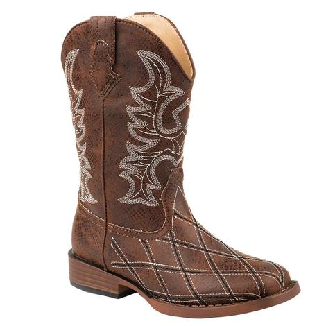 Roper Brown Criss Cross Youth Boots
