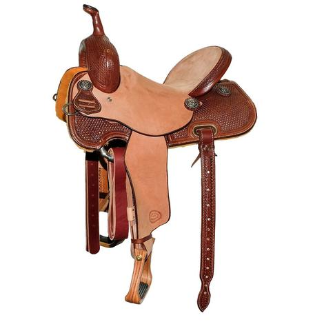 STT Chocolate and Natural Half Tooled Basketweave Barrel Saddle