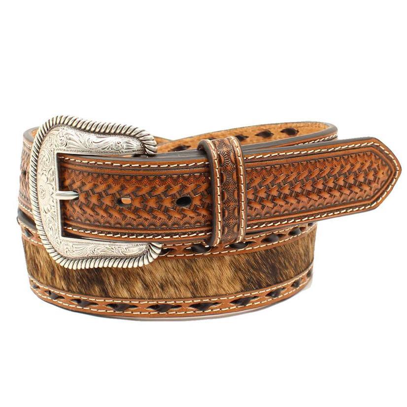 Nocona Brown Cowhide Concho Basketweave Tool Men's Belt