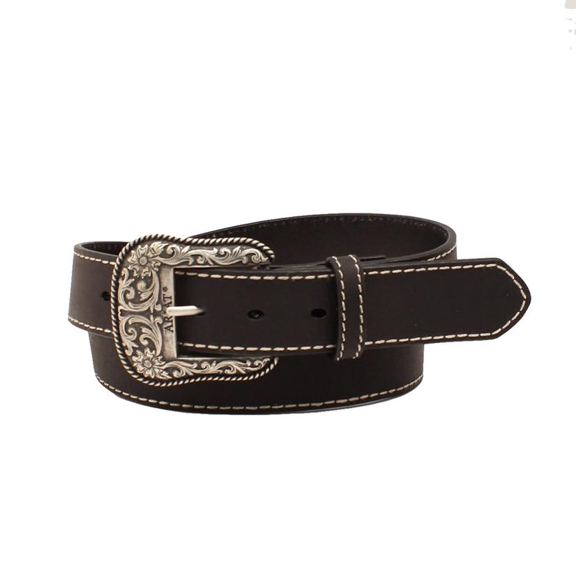 Ariat Black Solid Leather Women's Belt With Silver Buckle