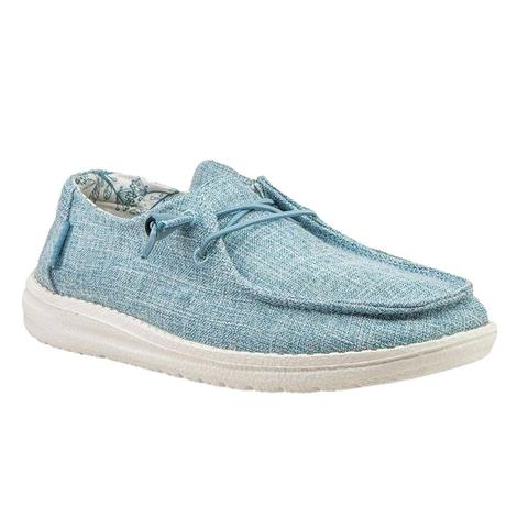 Hey Dude Wendy Linen Sky Blue Women's Shoes