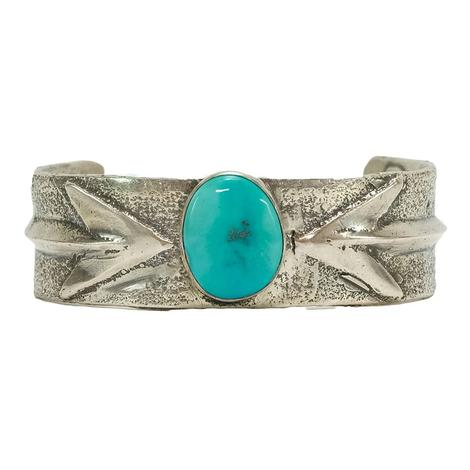 Love Tokens Silver and Turquoise Arrow Cuff