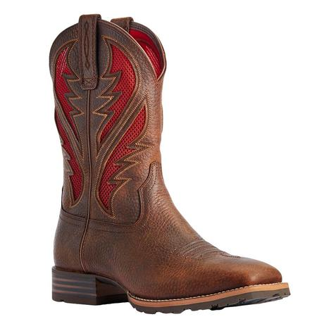 Ariat Hybrid Vent Tek Brown Red Ranch Men's Boots