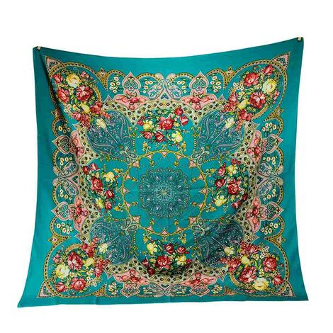 Wild Rags Teal Floral Print 35x35