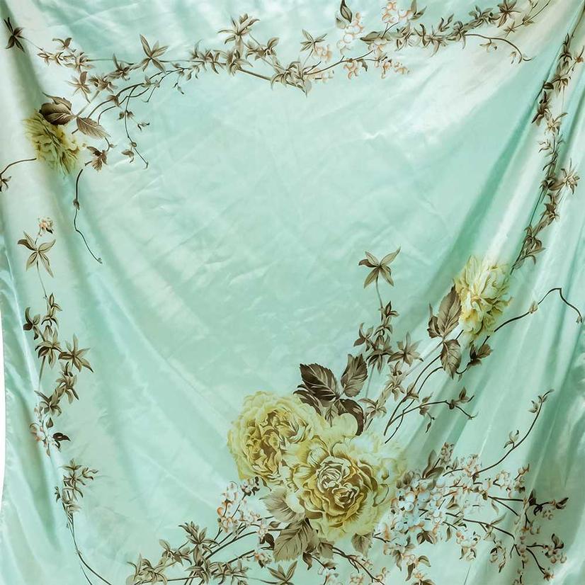 Wild Rags Mint Floral 35x35