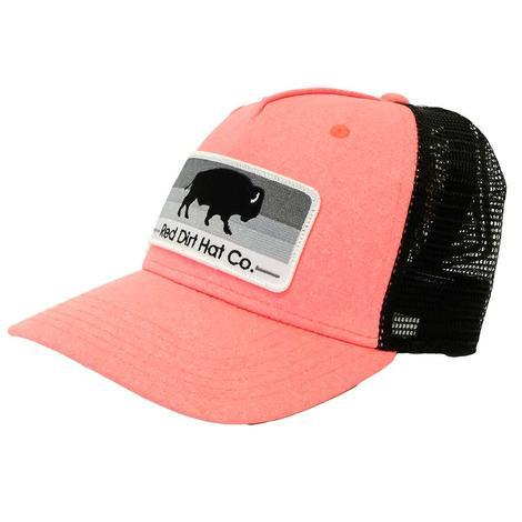 Red Dirt Hat Co. Heather Coral Buffalo Patch Cap