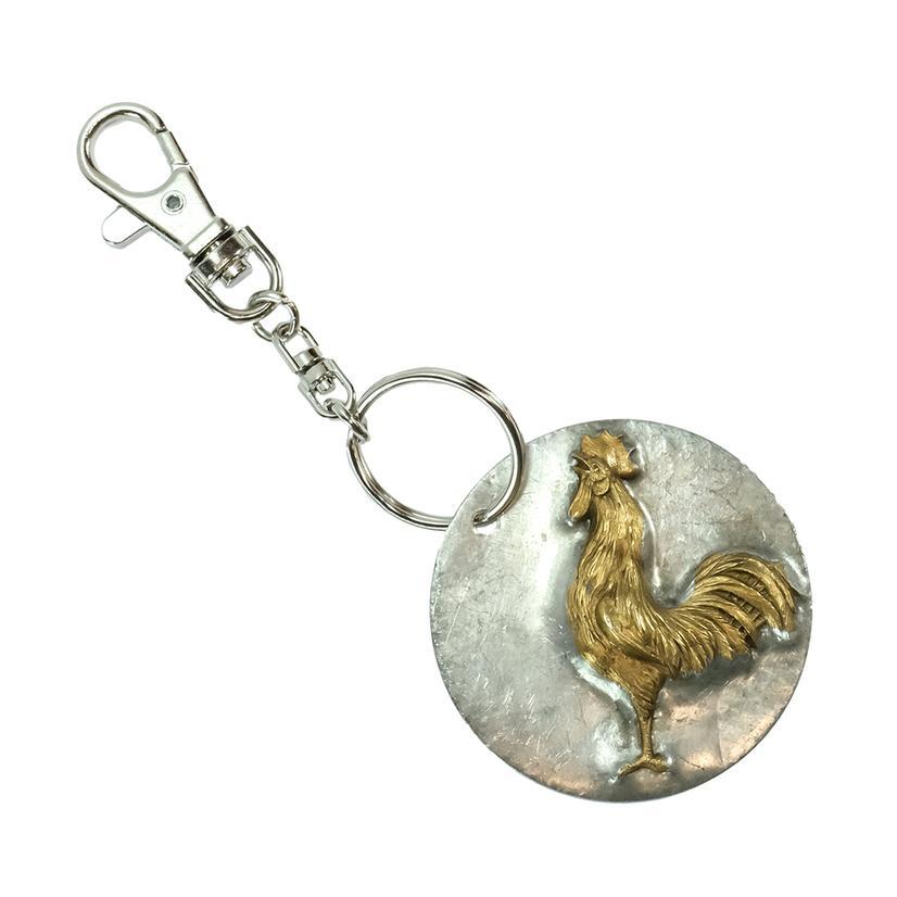 Stt Silver Bronze Rooster Medium Keychain