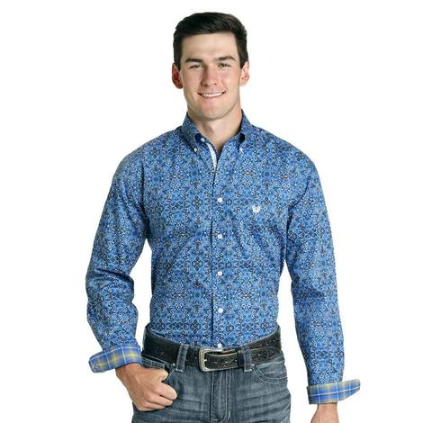 Panhandle Blue Print Long Sleeve Button Down Men's Shirt