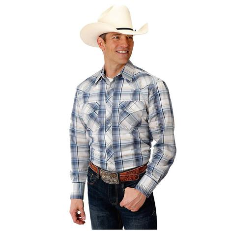 Roper Blue White Plaid Long Sleeve Button Down Men's Shirt