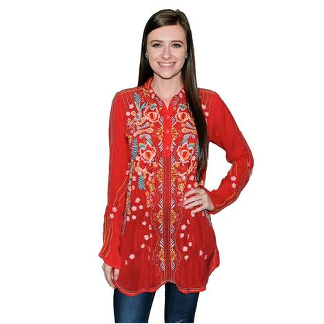 Johnny Was Lyndsey Red Button Up Women's Tunic