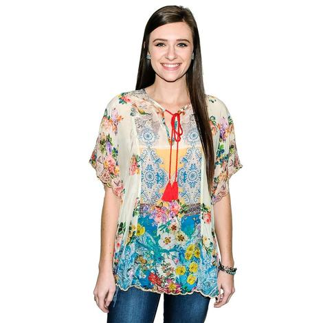 Johnny Was Tie Neck Women's Flowy Sleeve Blouse