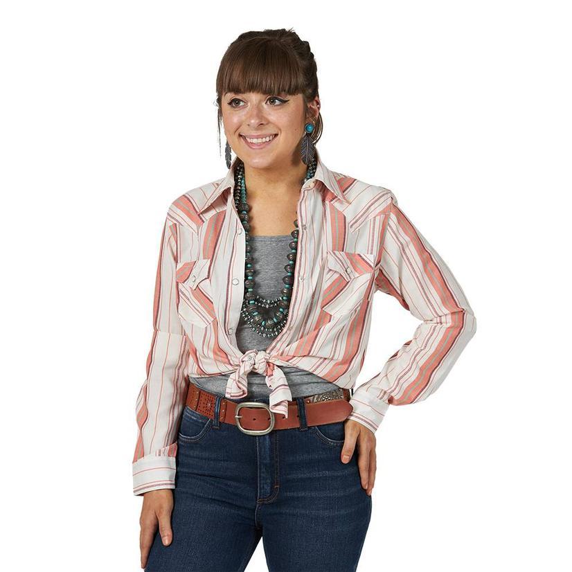 Wrangler Pink Stripe Long Sleeve Snap Women's Shirt