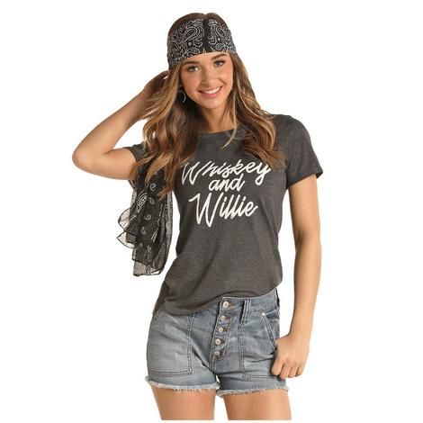 Rock and Roll Cowgirl Charcoal Whiskey and Willie Women's Tee