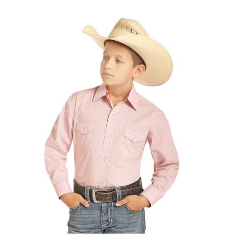 Panhandle Pink Print Long Sleeve Boy's Snap Shirt