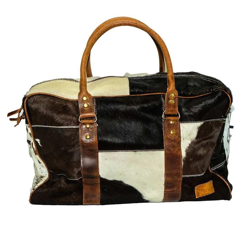 American Darling Bags Chocolate White Cowhide Zipper Dufflel
