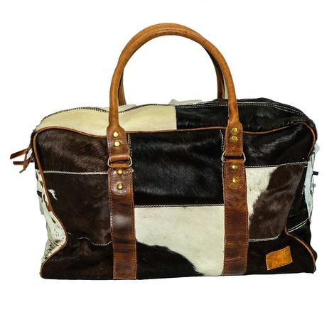 American Darling Bags Chocolate White Cowhide Zipper Dufflel