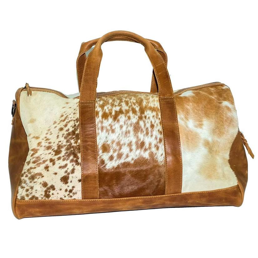 American Darling Bags Tan White Cowhide Duffel