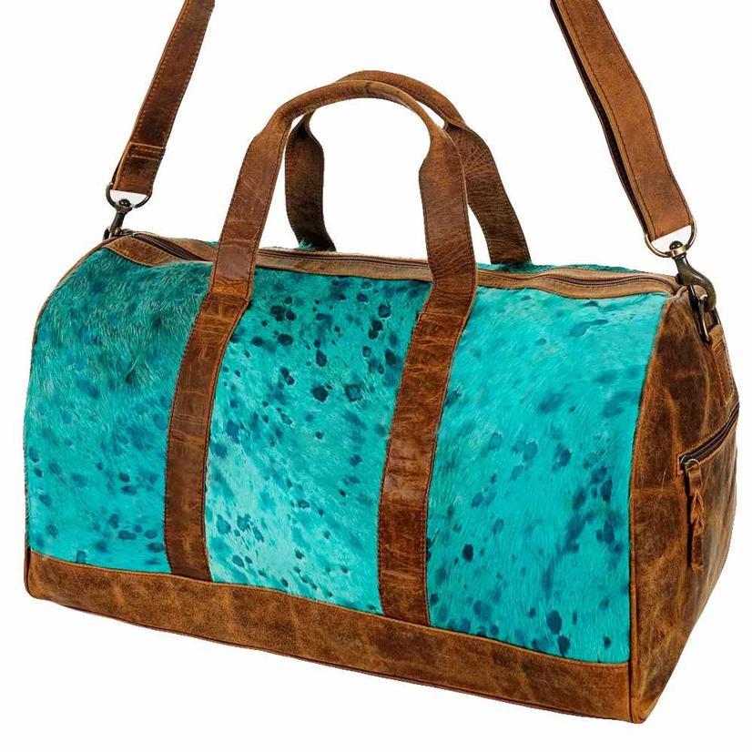 American Darling Bags Turquoise Acid Washed Cowhide Duffel