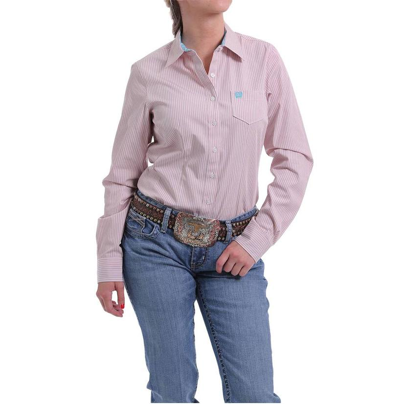 Cinch Light Pink And White Striped Long Sleeve Button Down Women's Shirt