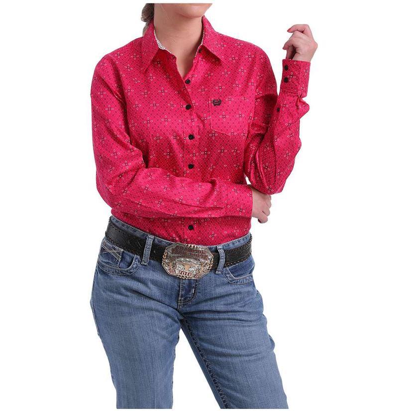 Cinch Fuchsia Print Tencel Long Sleeve Button Down Women's Shirt