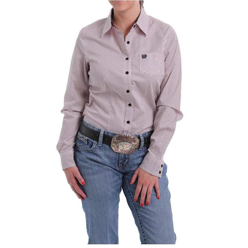 Cinch Pink Polka Dot Print Long Sleeve Button Down Women's Shirt