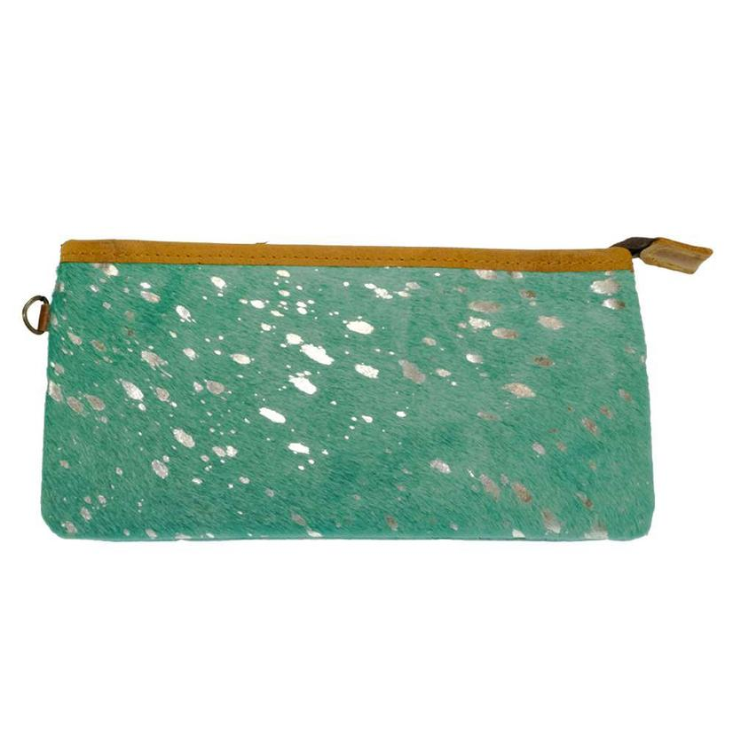 American Darling Bags Turquoise Acid Wash Zipper Clutch