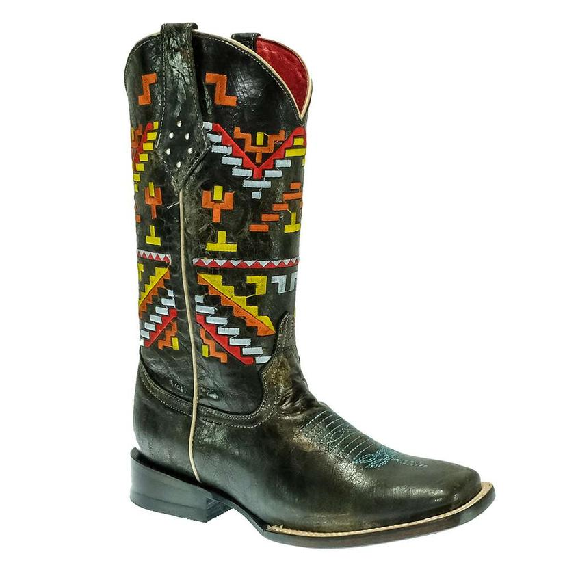 Ferrini Black Aztec Embroidered Women's Boots