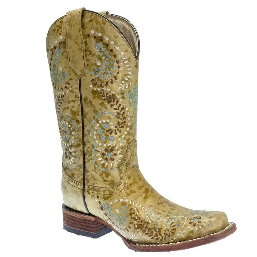 Circle G Gold Embroidery Square Toe Women's Boots