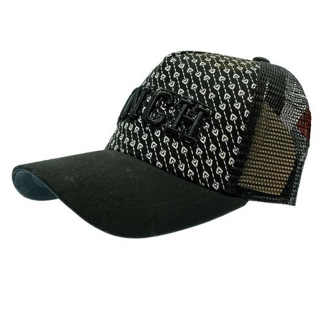 Cinch Black and White Print Snapback Meshback Cap