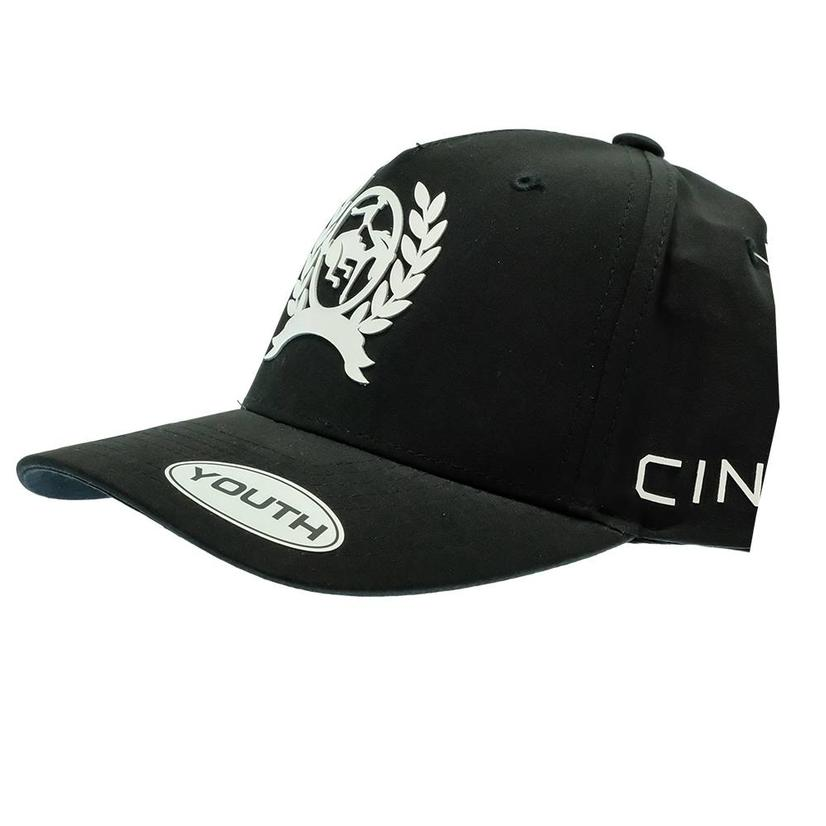 Cinch Black With White Logo Snapback Youth Cap