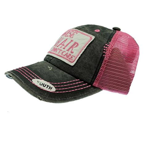 Cruel Girl Hot Pink and Black Horse Hair Don't Care Meshback Youth Cap