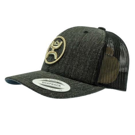 Hooey Classic 6 Panel Gold Emblem Black Snapback Cap