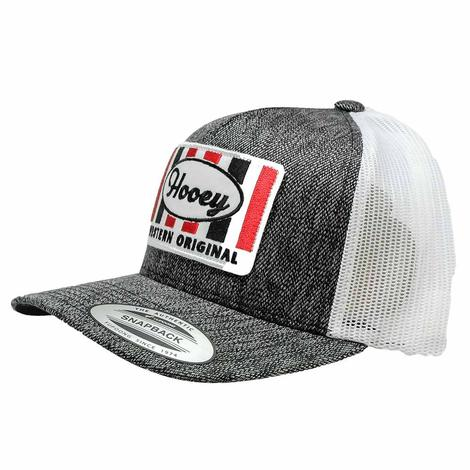 Hooey Grey Black White Snapback Square Patch Meshback Cap