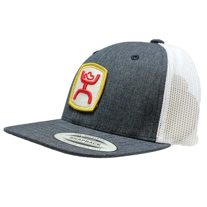 Hooey Grey White Red Yellow Patch Meshback Youth Cap